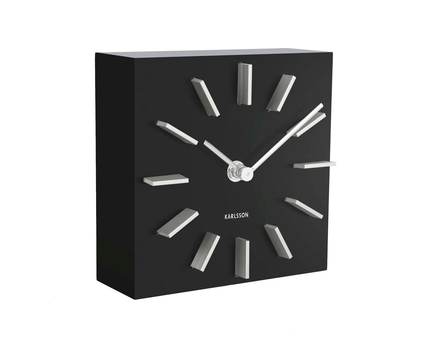 Tafelklok Discreet, MDF, Zwart, wit, 15 x 15 cm