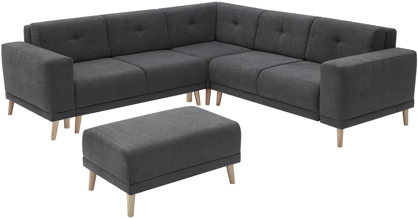 Sofa narożna z funkcją spania Luna, Tapicerka: 100% aksamit poliestrowy, Nogi: metal lakierowany, Ciemny szary, S 260 x G 260 cm