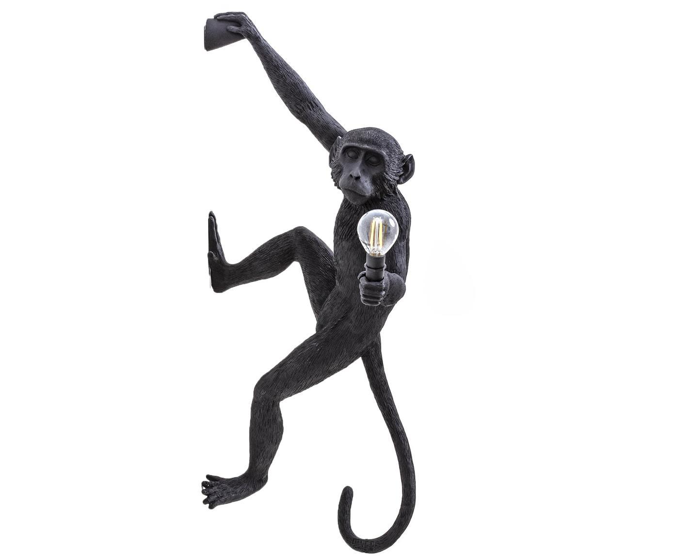 Wandlamp The Monkey met stekker, Polyresin, Zwart, 21 x 77 cm