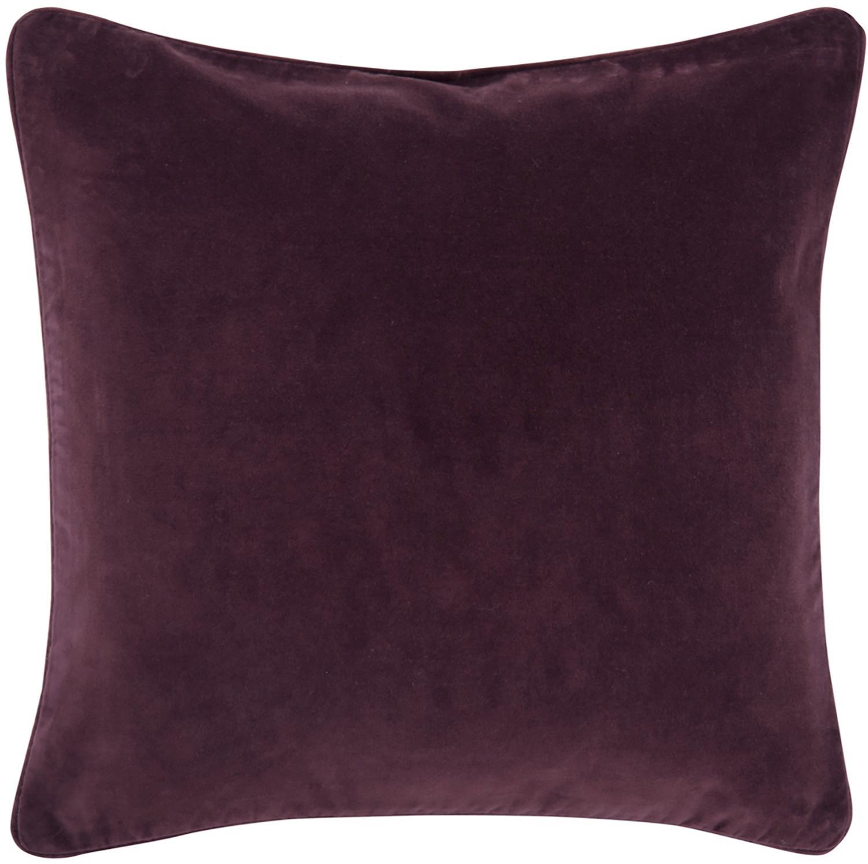 Federa arredo in velluto Dana, 100% velluto di cotone, Melanzana, Larg. 40 x Lung. 40 cm