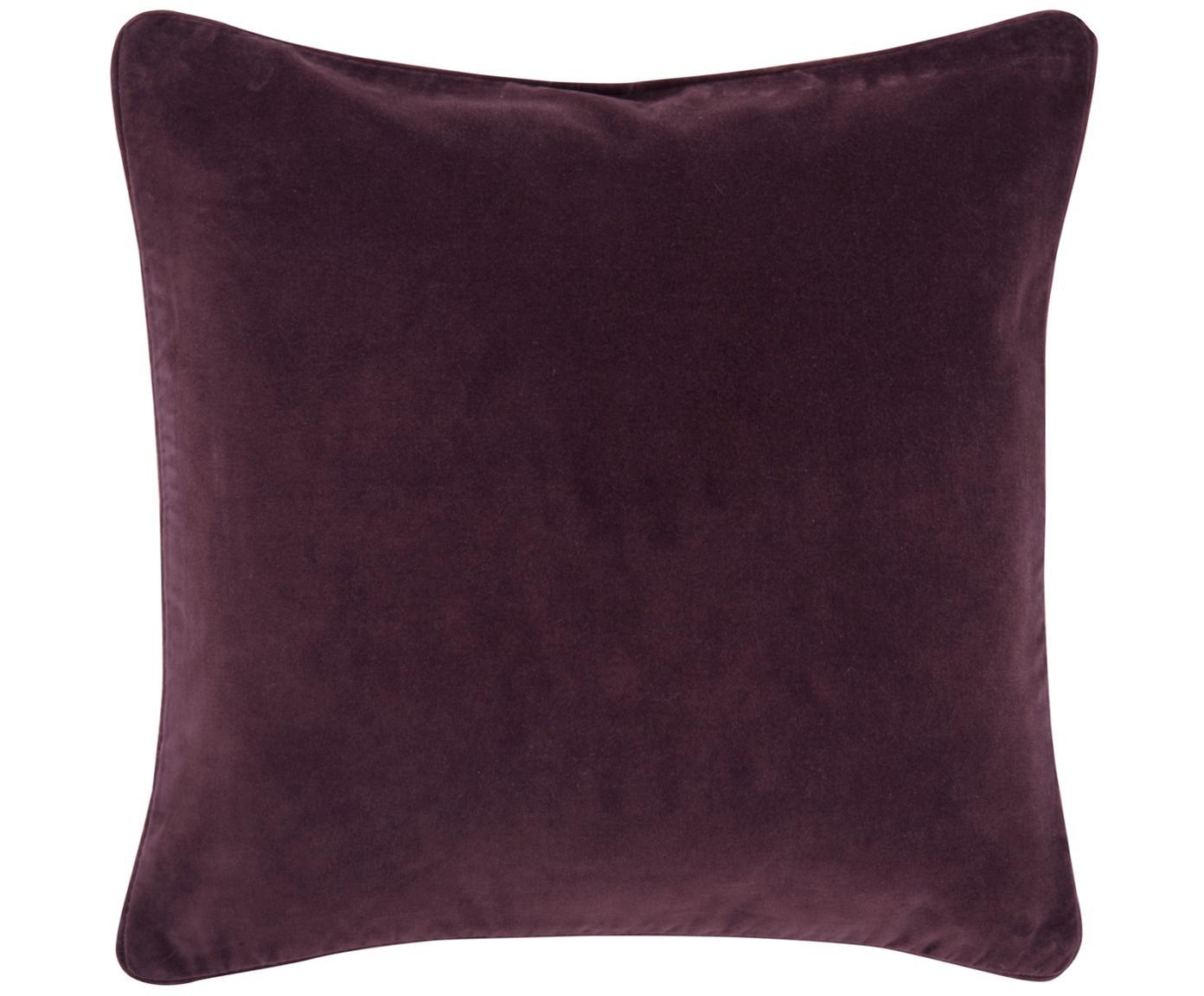 Poszewka na poduszkę z aksamitu Dana, 100% aksamit bawełniany,  Ciemnyfioletowy, S 40 x D 40 cm