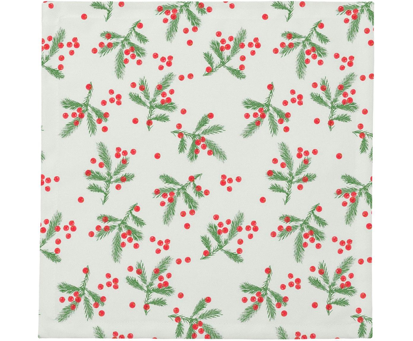 Tovagliolo di stoffa Christmas Berries, 4 pz., Cotone, Rosso, verde, Larg. 40 x Lung. 40 cm