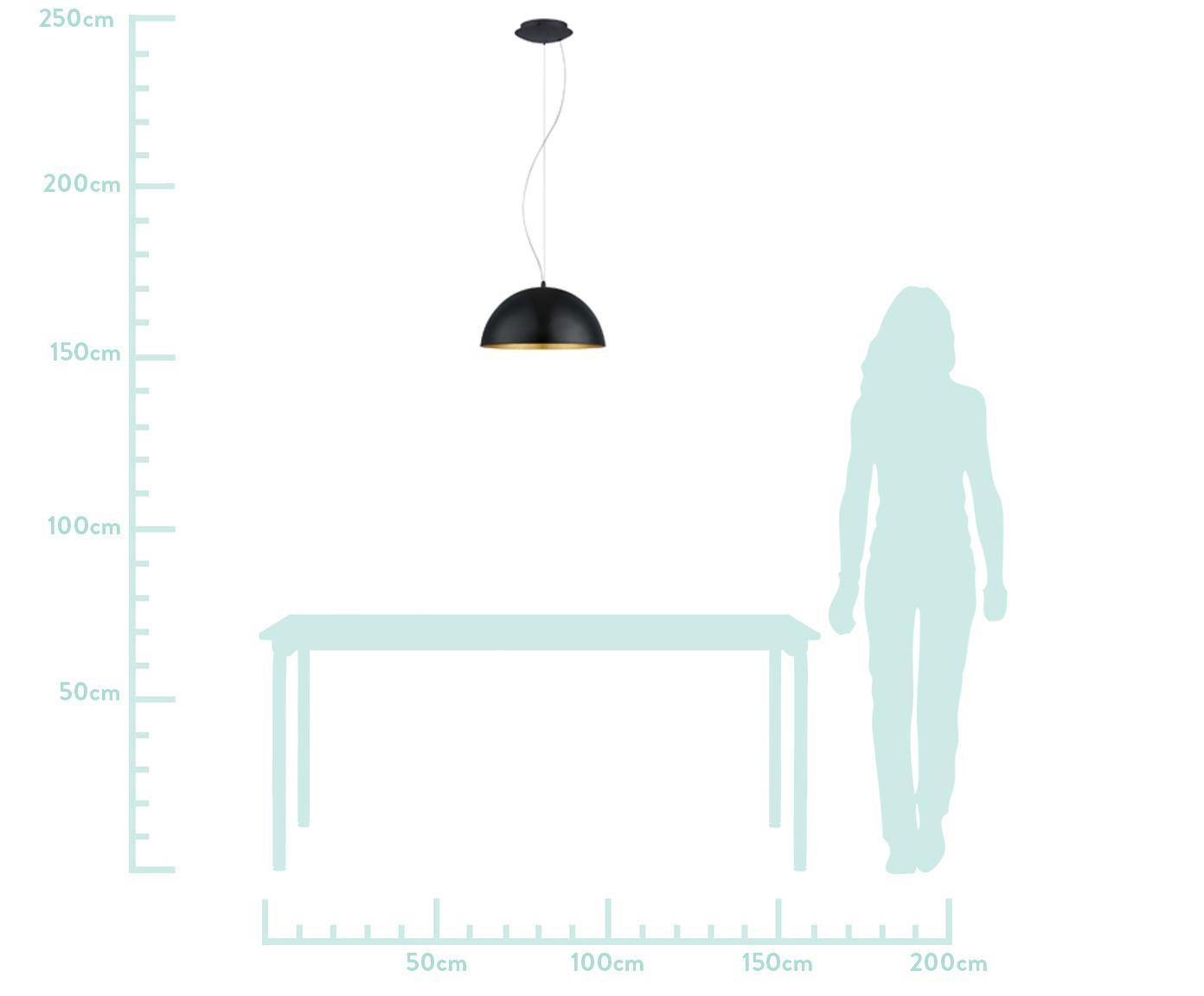 Hanglamp Brad, Baldakijn: gepoedercoat metaal, Lampenkap: gepoedercoat metaal, Zwart, Ø 38 x H 18 cm