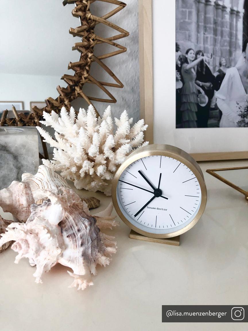 Orologio da tavolo Hannah, Cornice: alluminio, Quadrante: carta, Dorato, Ø 9 x A 9 cm