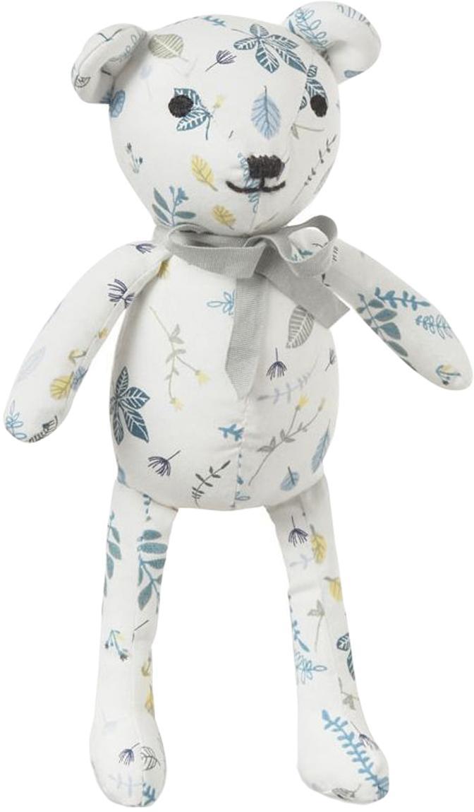 Przytulanka z bawełny organicznej Teddy, Tapicerka: bio-bawełna, certyfikat O, Biały, odcienie niebieskiego, żółty, S 14 x W 28 cm