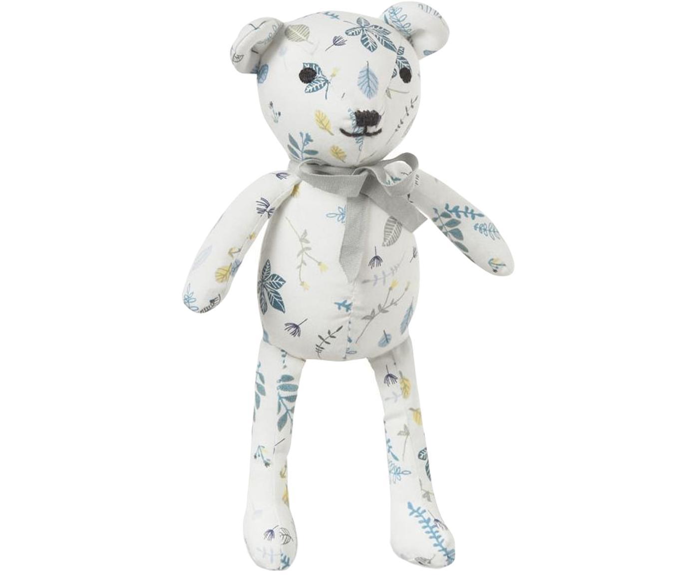 Kuscheltier Teddy aus Bio-Baumwolle, Bezug: Bio-Baumwolle, OCS-zertif, Weiß, Blautöne, Gelb, 14 x 28 cm