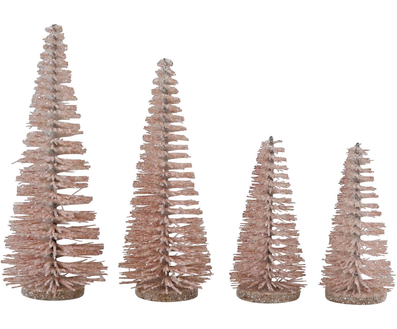 Set de piezas decorativas Glam, 4pzas., Metal, plástico, Rosa, Set de diferentes tamaños