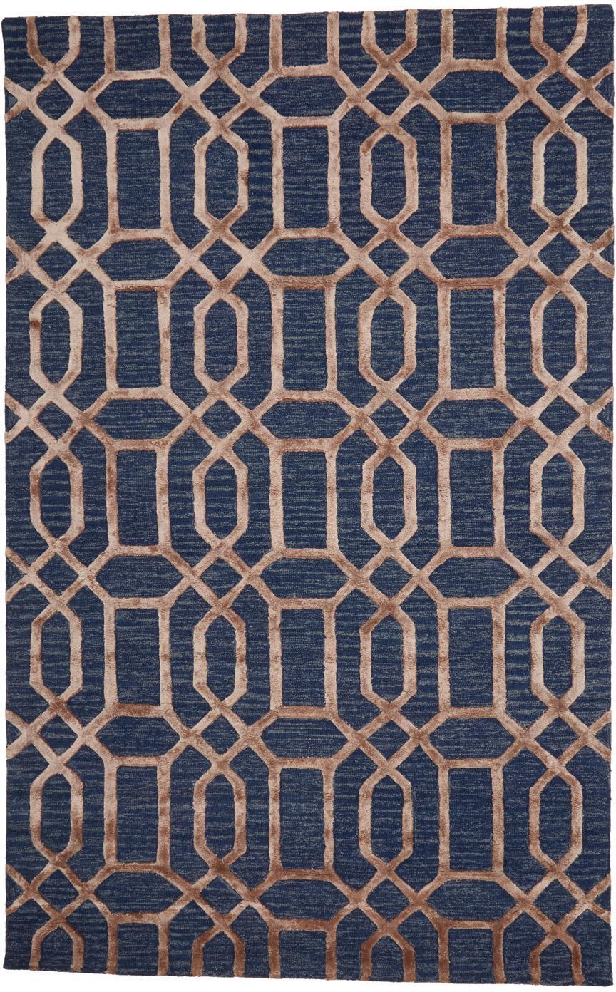 Handgetufteter Wollteppich Vegas mit Hoch-Tief-Effekt, Flor: 80% Wolle, 20% Viskose, Dunkelblau, Braun, B 150 x L 245 cm (Größe M)