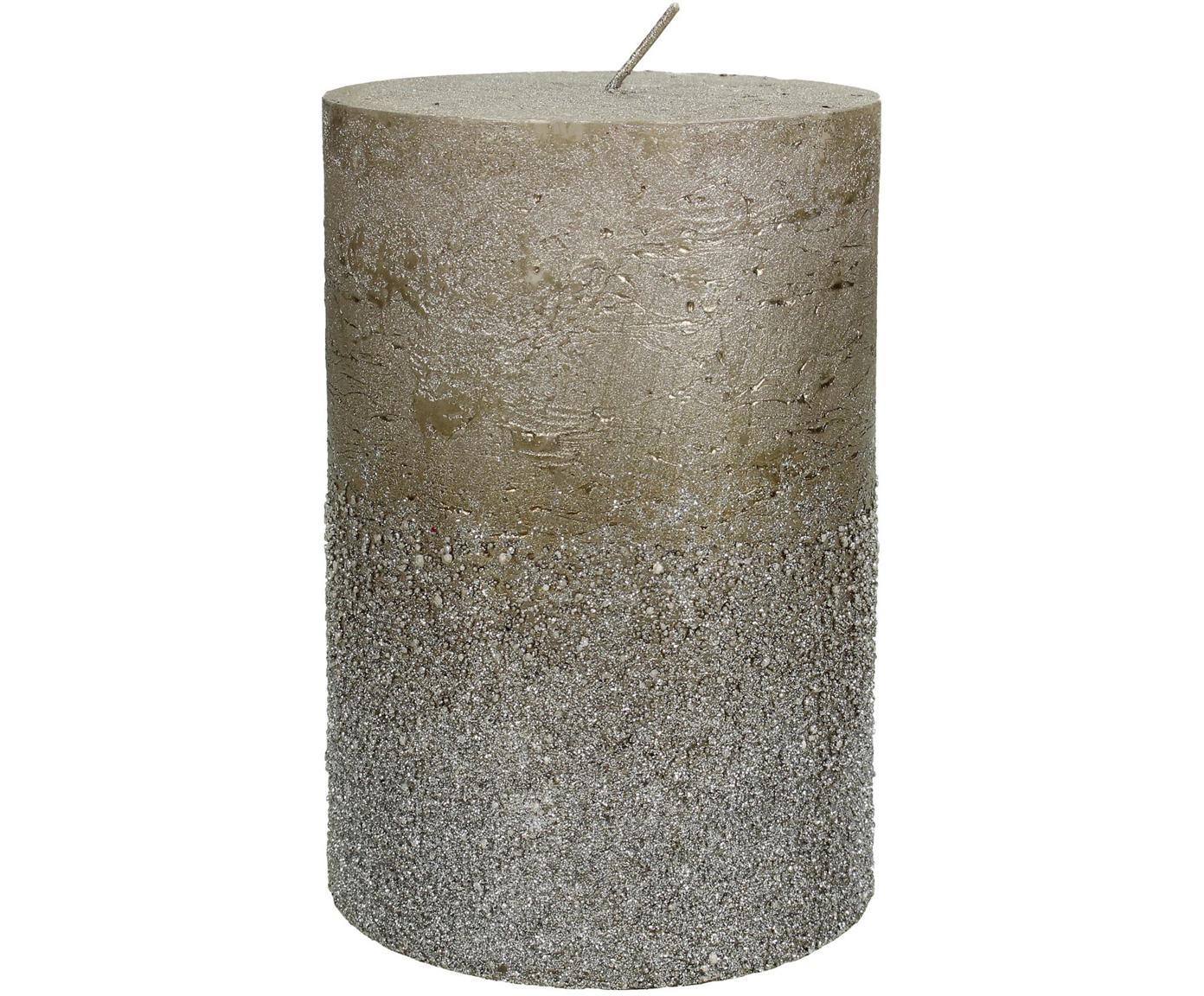 Candela pilastro Glitters, Cera, Grigio, Ø 10 x Alt. 15 cm