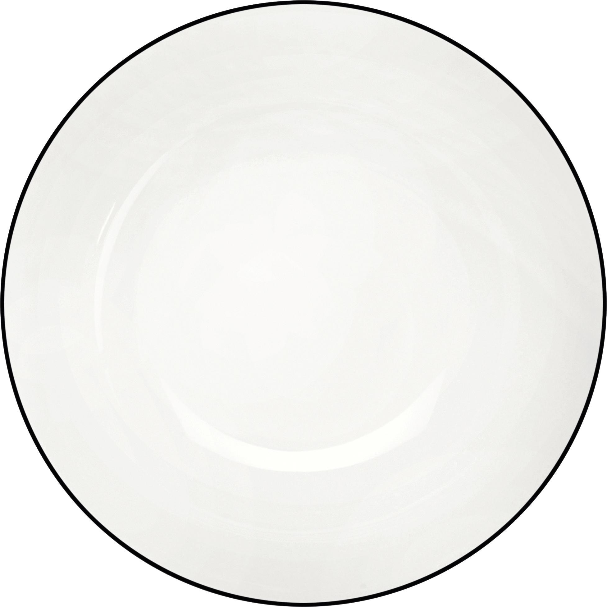 Piattino da dessert á table ligne noir 4 pz, Porcellana Fine Bone China, Bianco Bordo: nero, Ø 21 cm