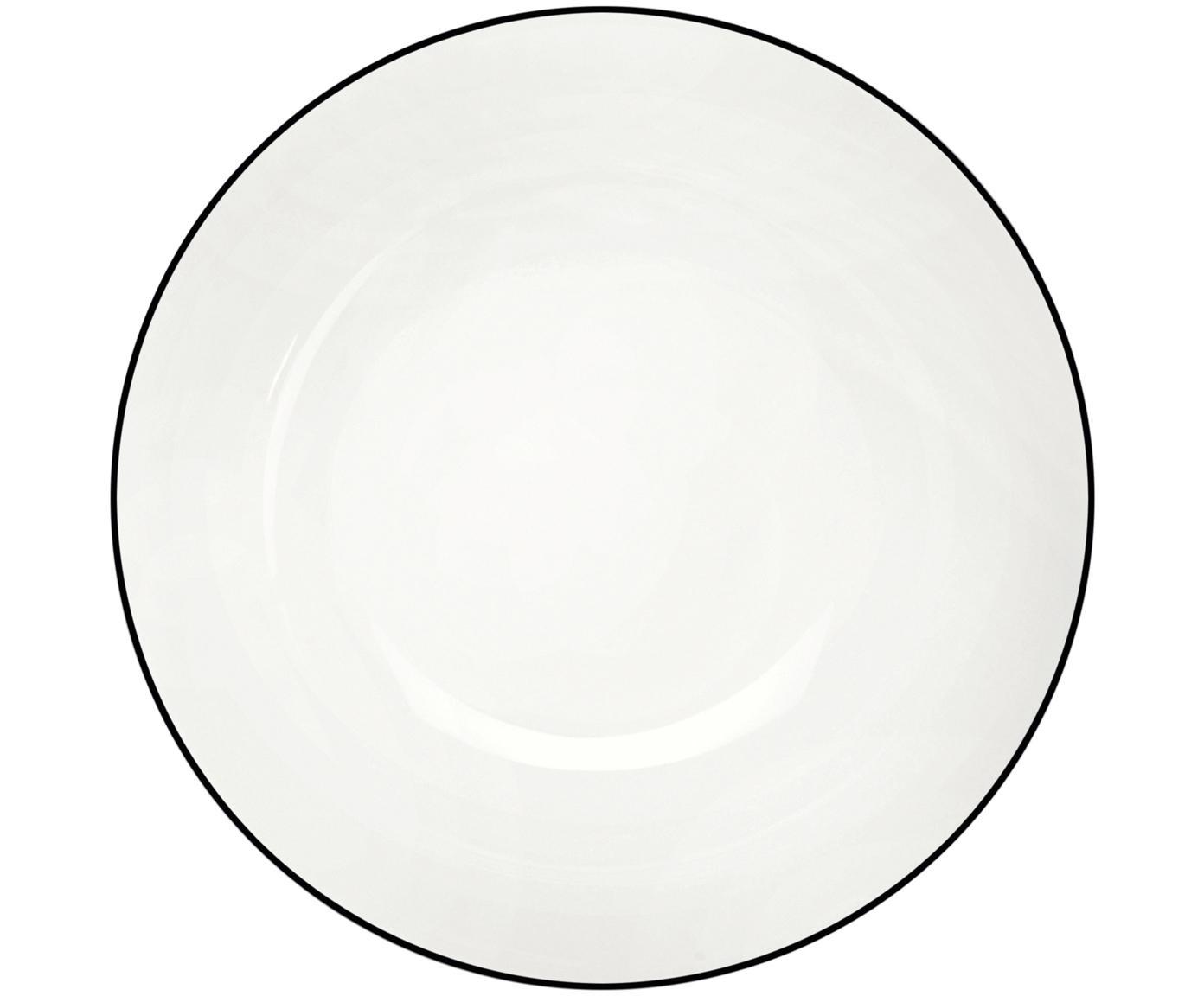 Dessertborden á table ligne noir, 4 stuks, Beenderporselein, Wit. Rand: zwart, Ø 21 cm