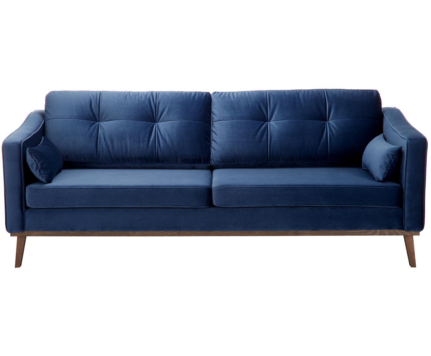Sofa z aksamitu Alva (3-osobowa), Tapicerka: aksamit (wysokiej jakości, Stelaż: drewno sosnowe, Nogi: lite drewno bukowe, barwi, Tapicerka: marynarski granat Nogi: drewno bukowe, bejcowane na ciemno, S 215 x G 92 cm