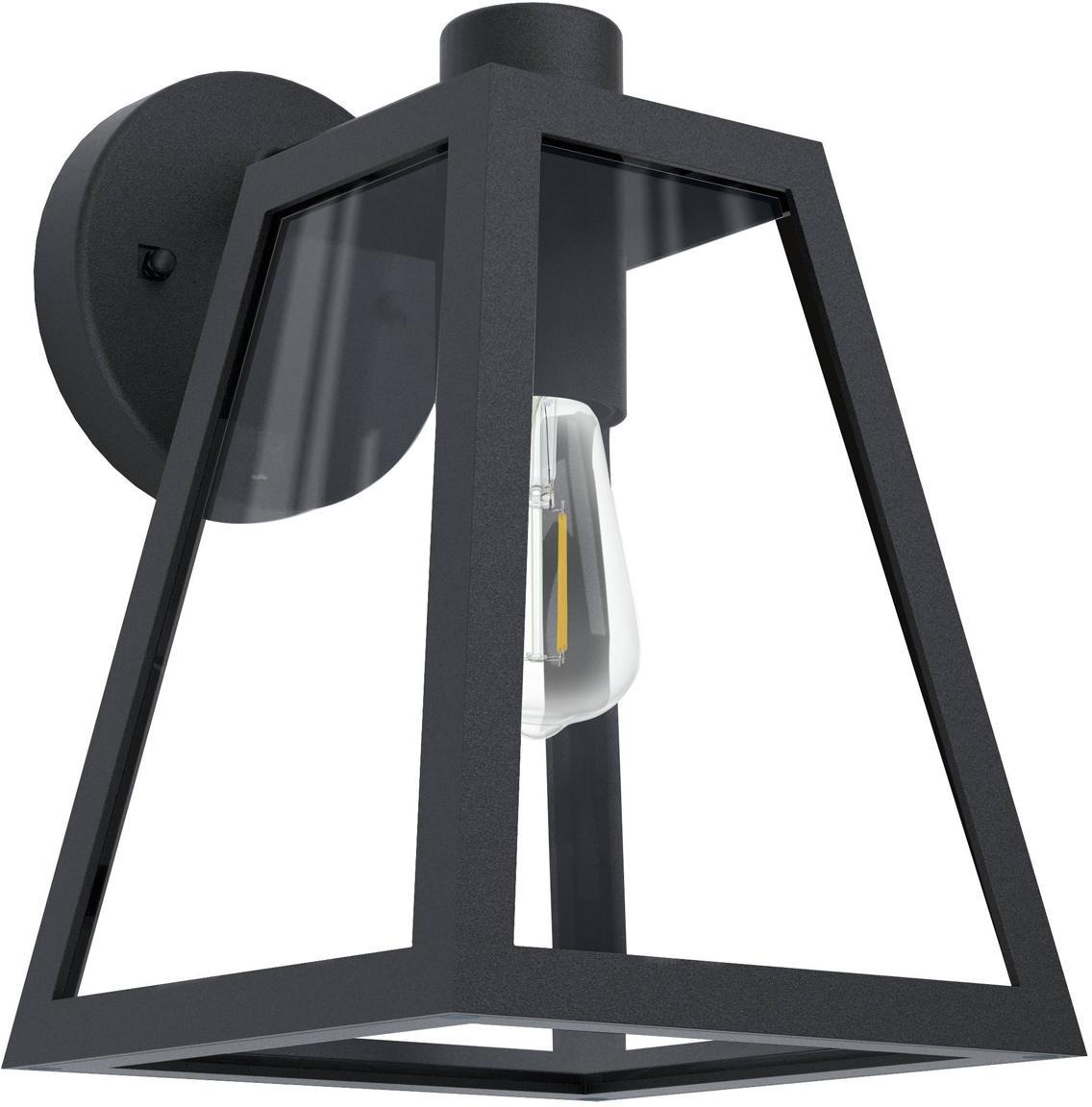 Applique da esterno Mirandola, Alluminio, vetro, Nero, Larg. 18 x Alt. 27 cm