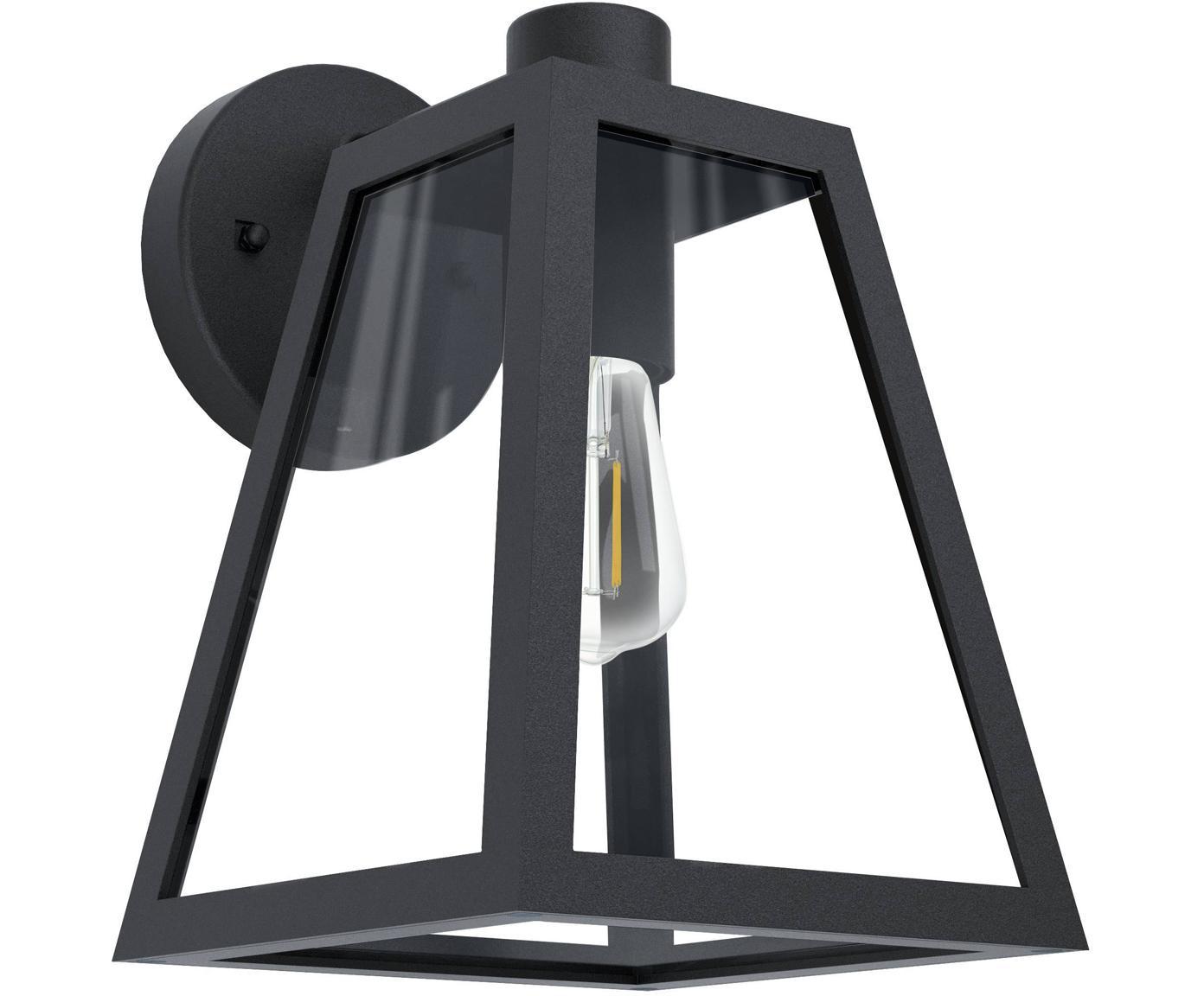 Aplique para exterior Mirandola, Pantalla: vidrio, Estructura: aluminio, Negro, An 18 x F 27 cm