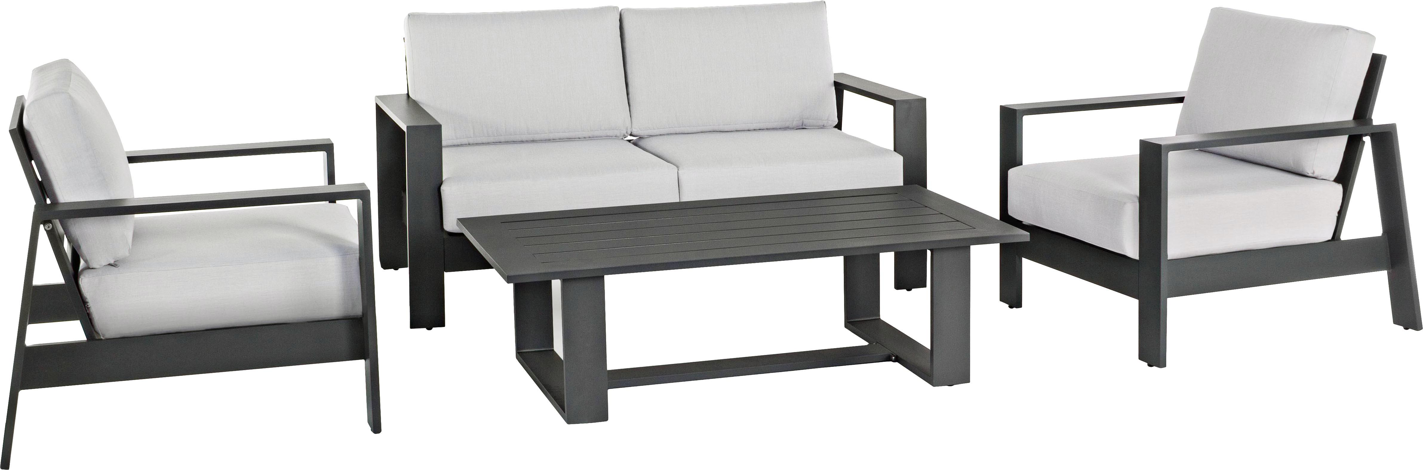 Set lounge de exterior Atlantic, 4pzas., Estructura: aluminio con pintura en p, Tapizado: poliéster, Gris antracita, gris claro, Tamaños diferentes