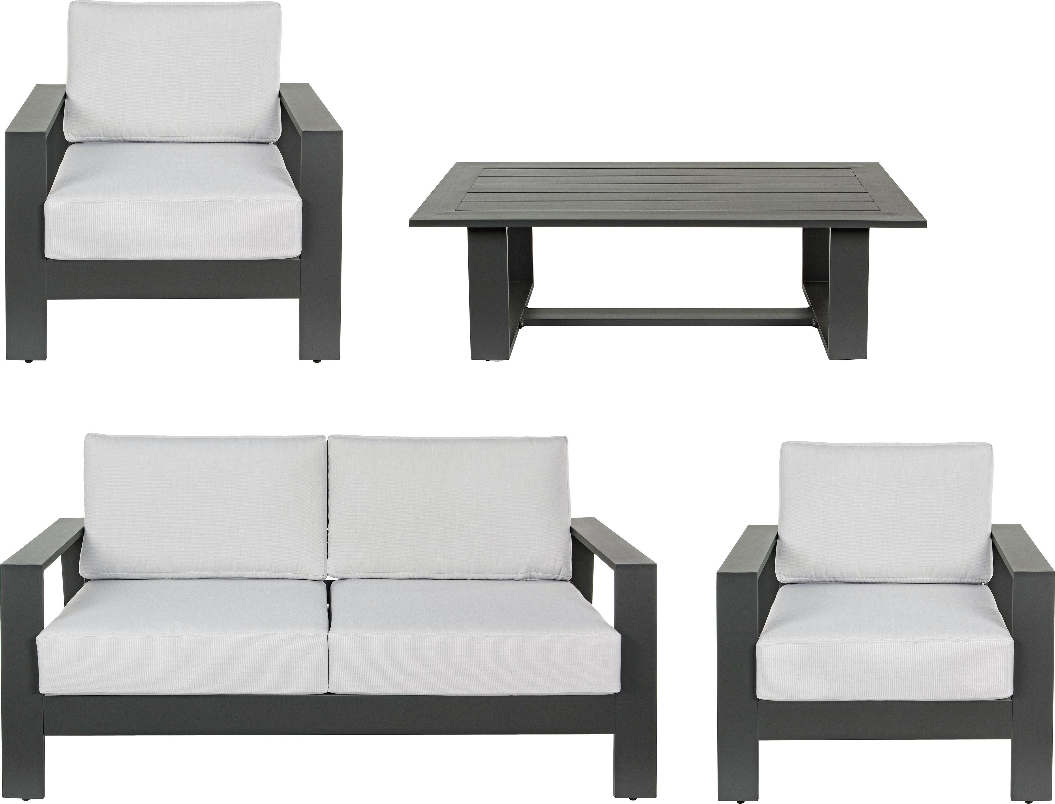 Salotto da giardino Atlantic 4 pz, Struttura: alluminio verniciato a po, Rivestimento: poliestere, Antracite, grigio chiaro, Diverse dimensioni