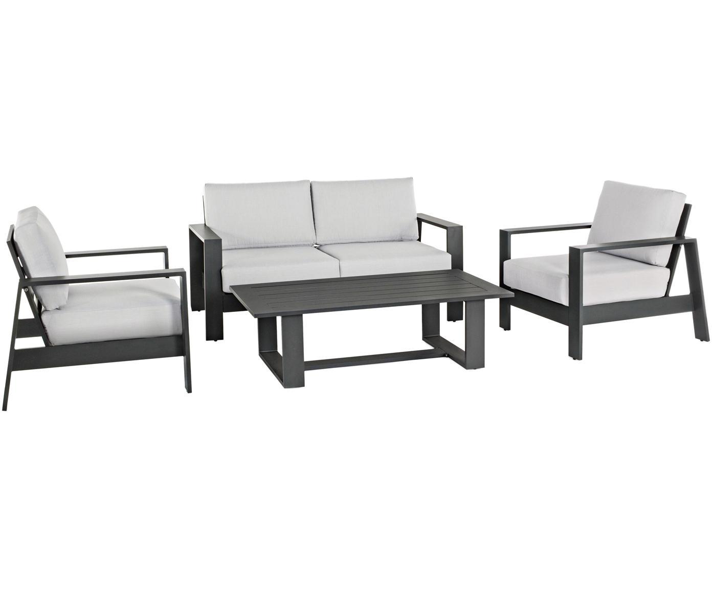 Garten-Lounge-Set Atlantic, 4-tlg., Gestell: Aluminium, pulverbeschich, Bezug: Polyester, Anthrazit, Hellgrau, Sondergrößen