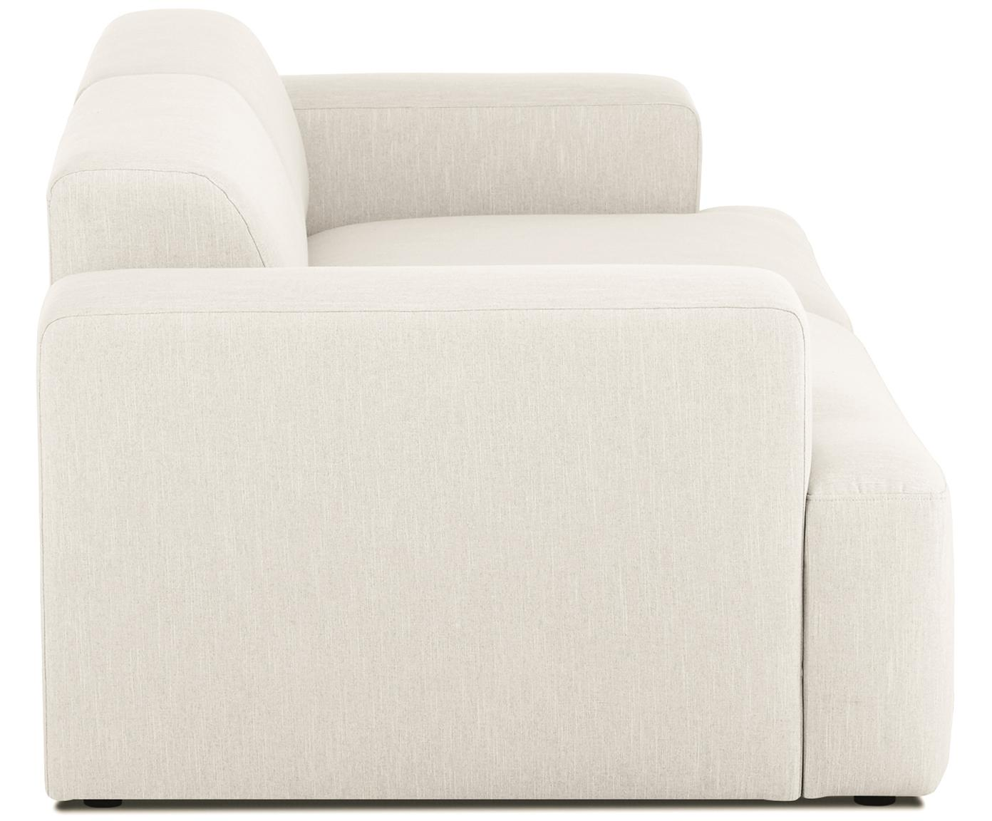 Bank Melva (3-zits), Bekleding: polyester, Frame: massief grenenhout, spaan, Poten: grenenhout, Geweven stof beige, B 240 x D 101 cm