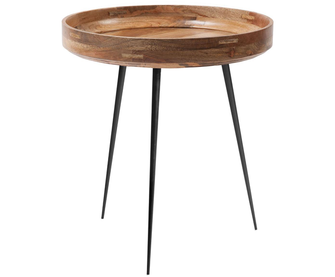 Design-Beistelltisch Bowl Table aus Mangoholz, Tischplatte: Mangoholz, klarlackiert, Beine: Stahl, pulverbeschichtet, Mangoholz, Schwarz, Ø 46 x H 52 cm