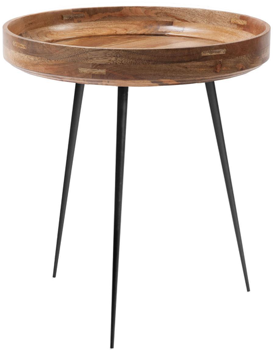 Stolik pomocniczy z drewna mangowego Bowl Table, Blat: drewno mangowe, lakierowa, Nogi: stal, malowane proszkowo, Drewno mangowe, czarny, Ø 46 x 52 cm