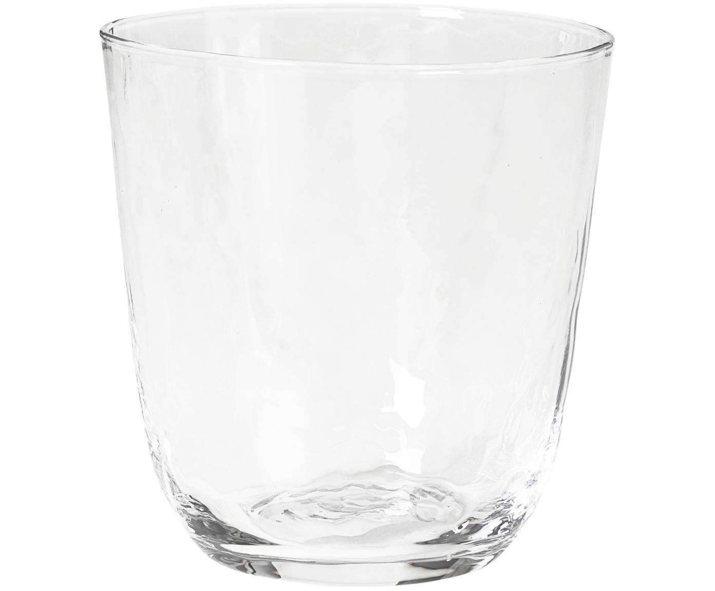 Mundgeblasene Wassergläser Hammered mit unebener Oberfläche, 4er-Set, Glas, mundgeblasen, Transparent, Ø 9 x H 10 cm