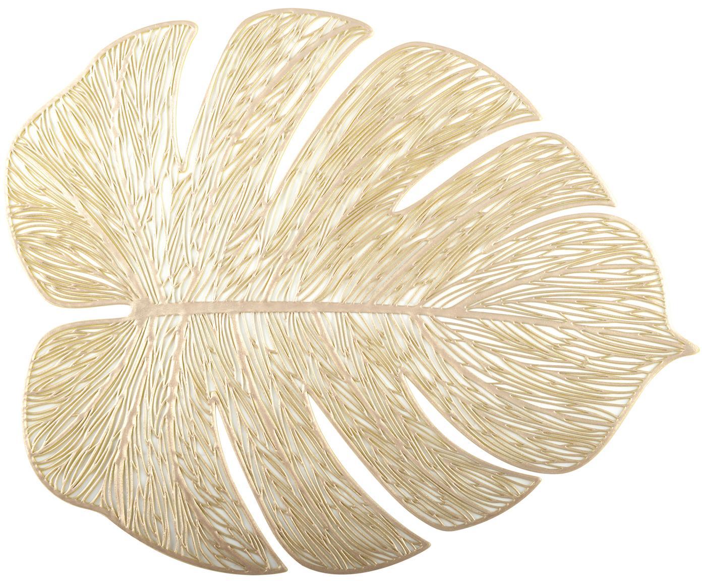 Goldene Tischsets Leaf in Blattform, 2 Stück, Kunststoff, Goldfarben, 33 x 40 cm