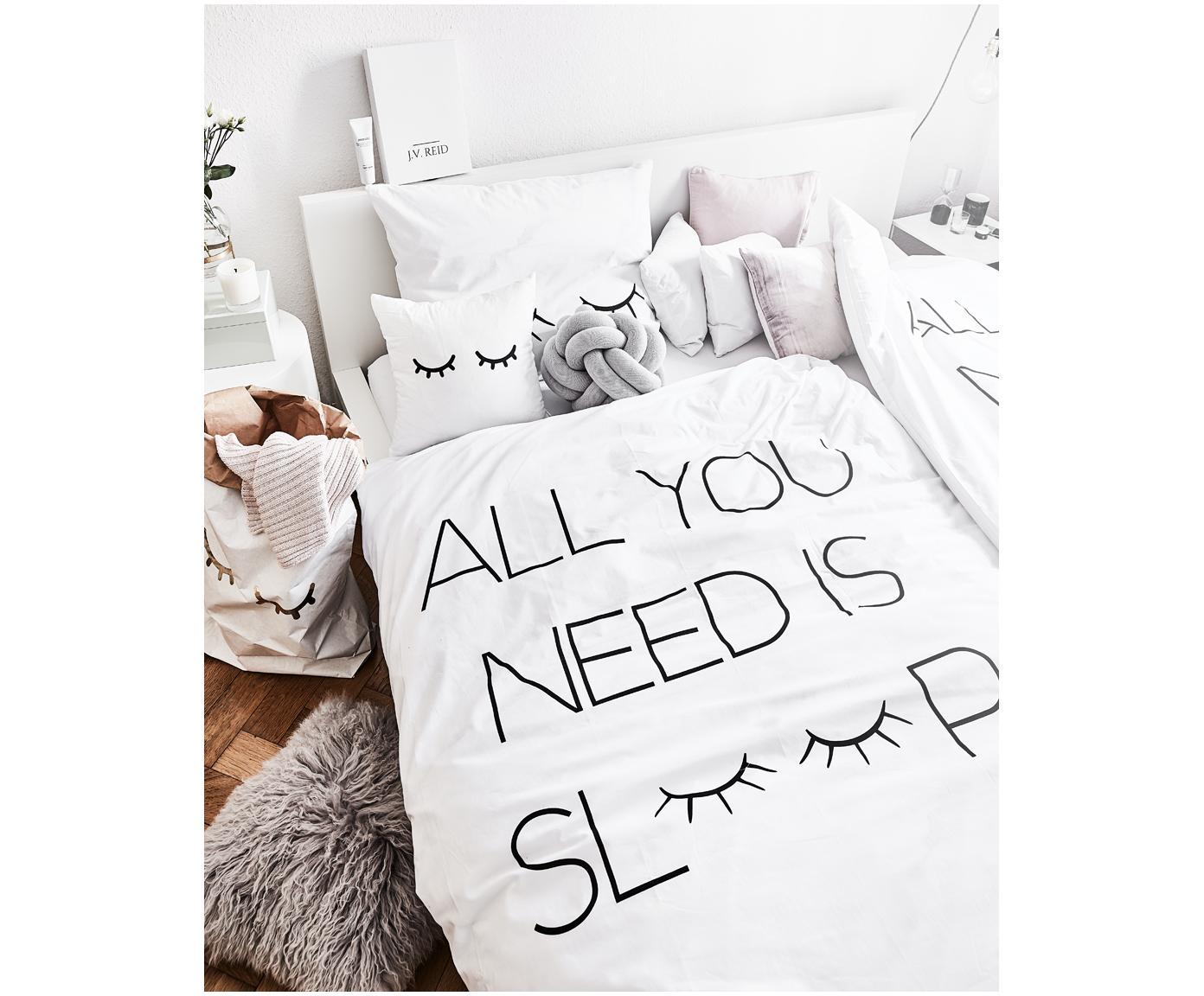 Baumwollperkal-Bettwäsche Sleepy Eyes mit Schriftzug, Webart: Perkal Fadendichte 200 TC, Weiß, Schwarz, 135 x 200 cm + 1 Kissen 80 x 80 cm