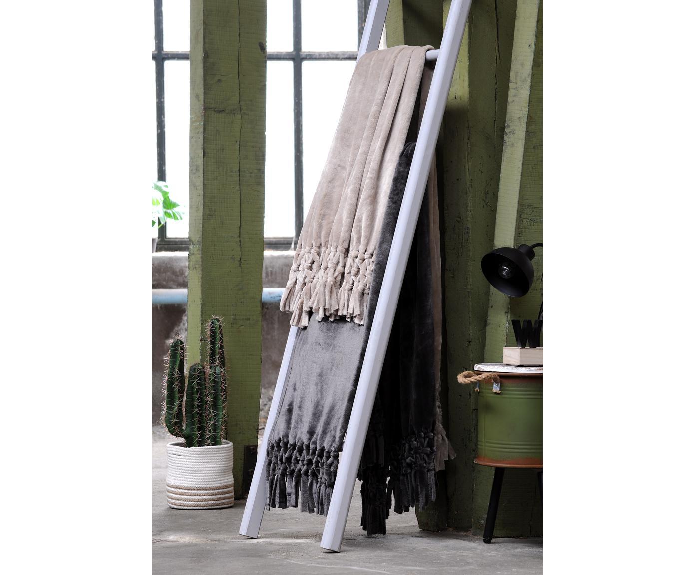 Pled z frędzlami Bishop, Polietylen, Antracytowy, S 130 x D 160 cm