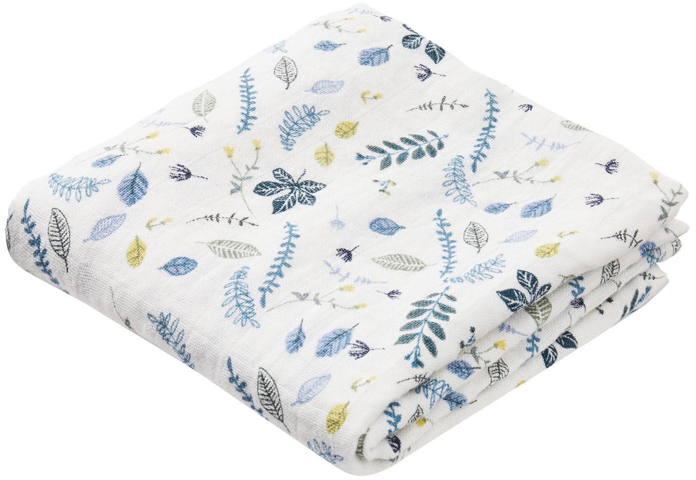 Mulltücher Pressed Leaves aus Bio-Baumwolle, 2 Stück, Bio-Baumwolle, GOTS-zertifiziert, Weiß, Blau, Grau, Gelb, 70 x 70 cm