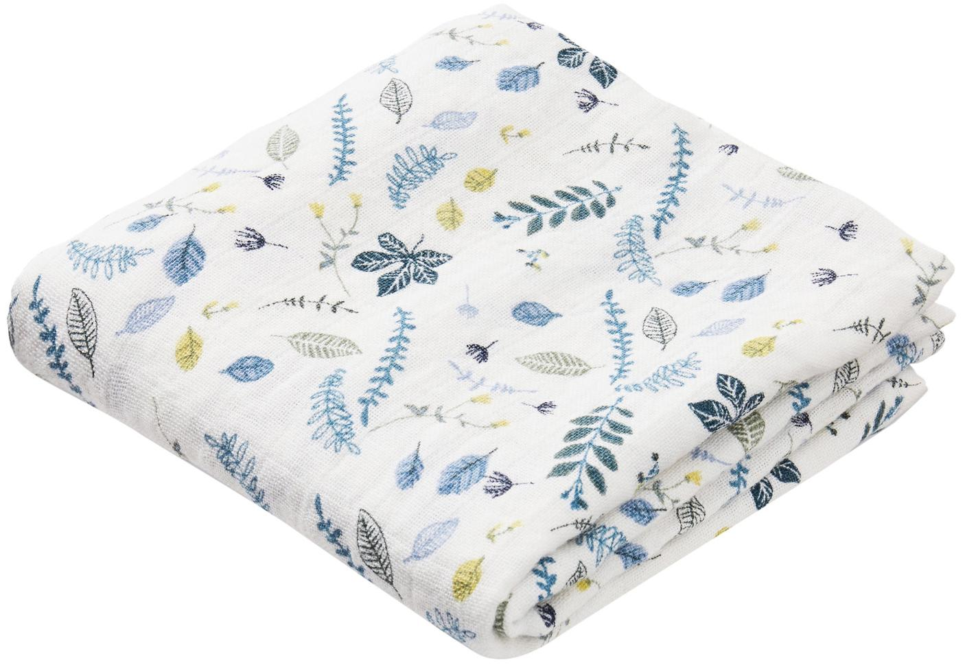 Pañales de tela Pressed Leaves, 2uds., Algodón orgánico, Blanco, azul, gris, amarillo, An 70 x L 70 cm