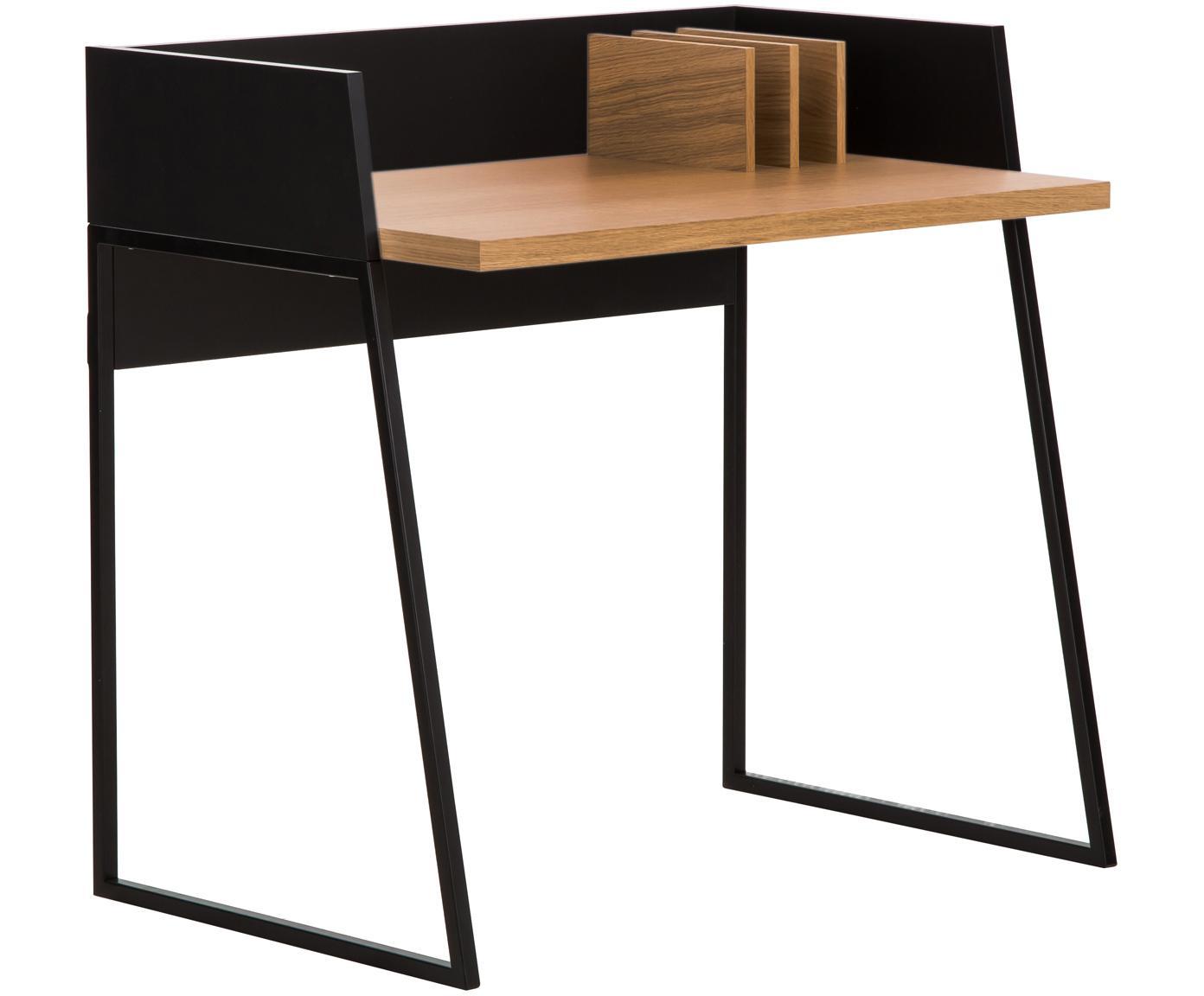 Małe biurko z przedziałami Camille, Korpus: płyta pilśniowa (MDF), la, Nogi: metal lakierowany, Drewno dębowe, czarny, S 90 x G 60 cm