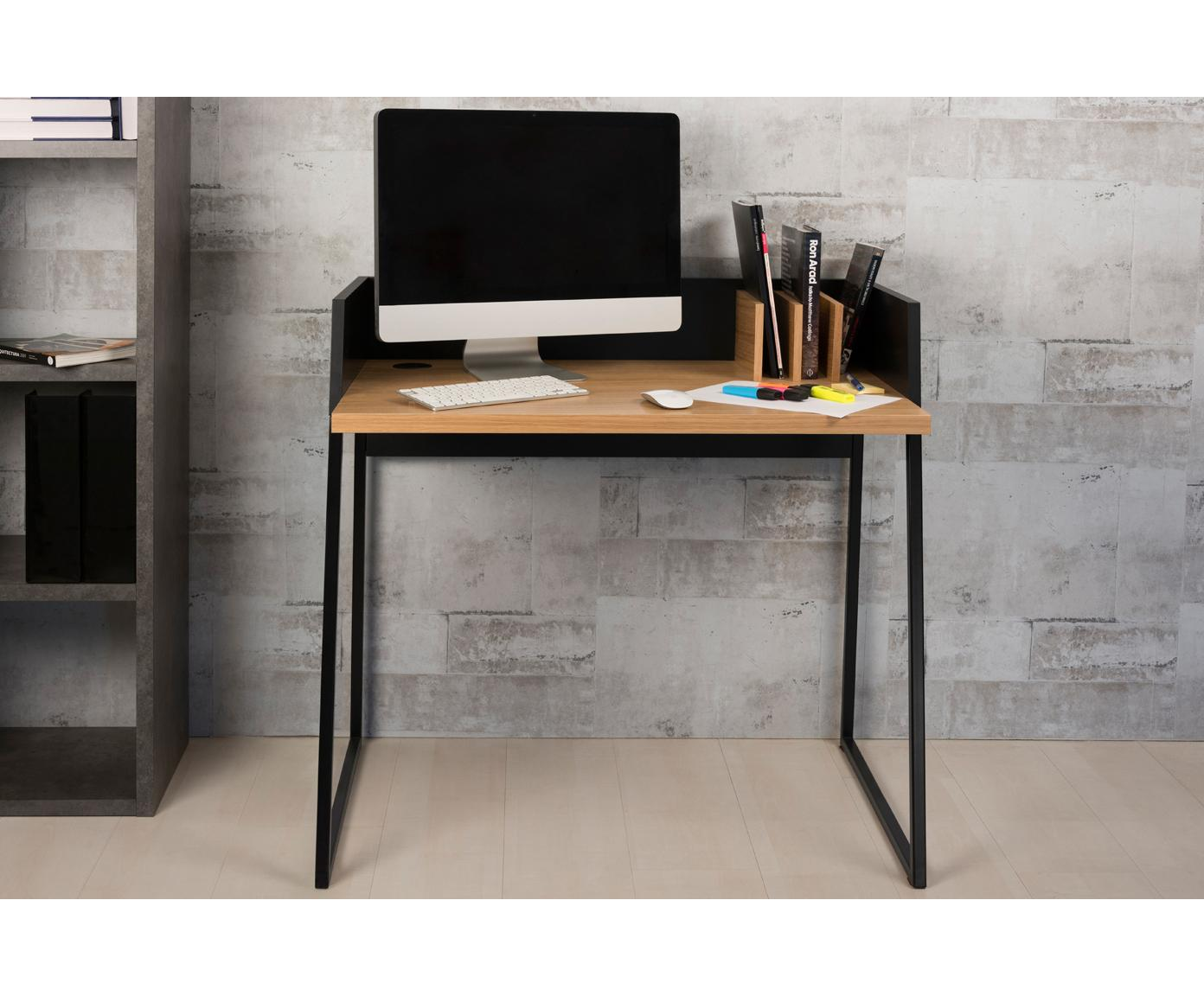 Klein bureau Camille met plank, Poten: gelakt metaal, Eikenhoutkleurig, zwart, B 90 x D 60 cm