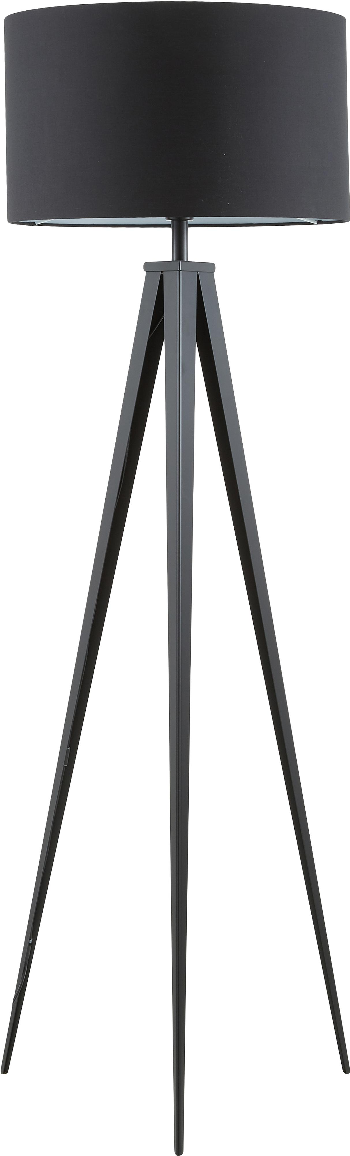 Lámpara de pie trípode Jake, Pantalla: tela, Cable: plástico, Negro, Ø 50 x Al 158 cm
