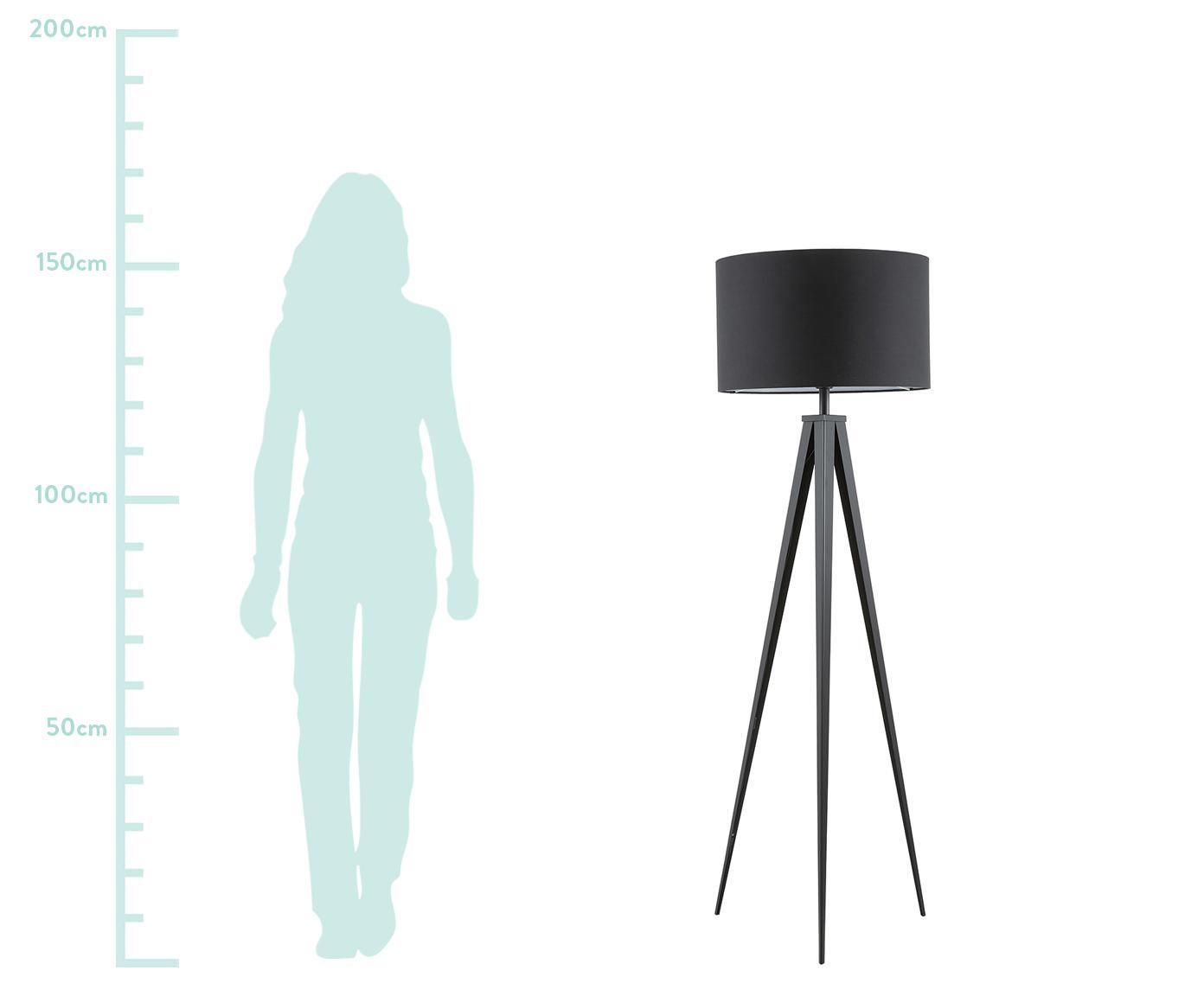 Vloerlamp Jake, Lampenkap: katoen, Lampvoet: gepoedercoat metaal, Lampenkap: zwart. Lampvoet: mat zwart, Ø 50 x H 154 cm