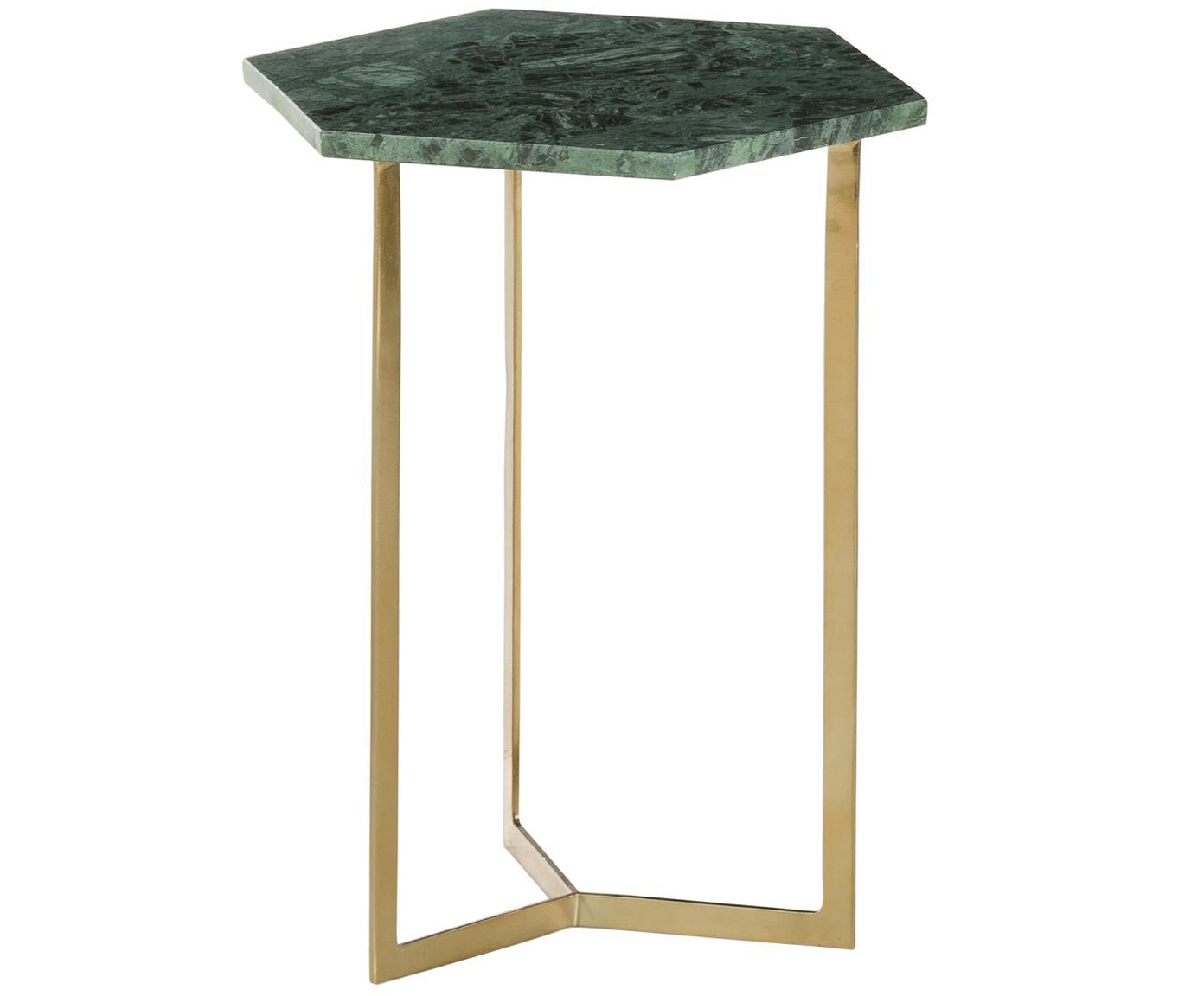 Marmeren bijzettafel Vince, Tafelblad: marmer, Frame: gecoat metaal, Tafelblad: groen marmer. Frame: goudkleurig, glanzend, 40 x 50 cm