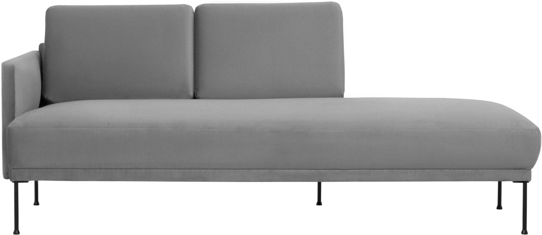 Fluwelen chaise longue Fluente, Bekleding: fluweel (hoogwaardig poly, Frame: massief grenenhout, Poten: gepoedercoat metaal, Lichtgrijs, B 202 x D 85 cm