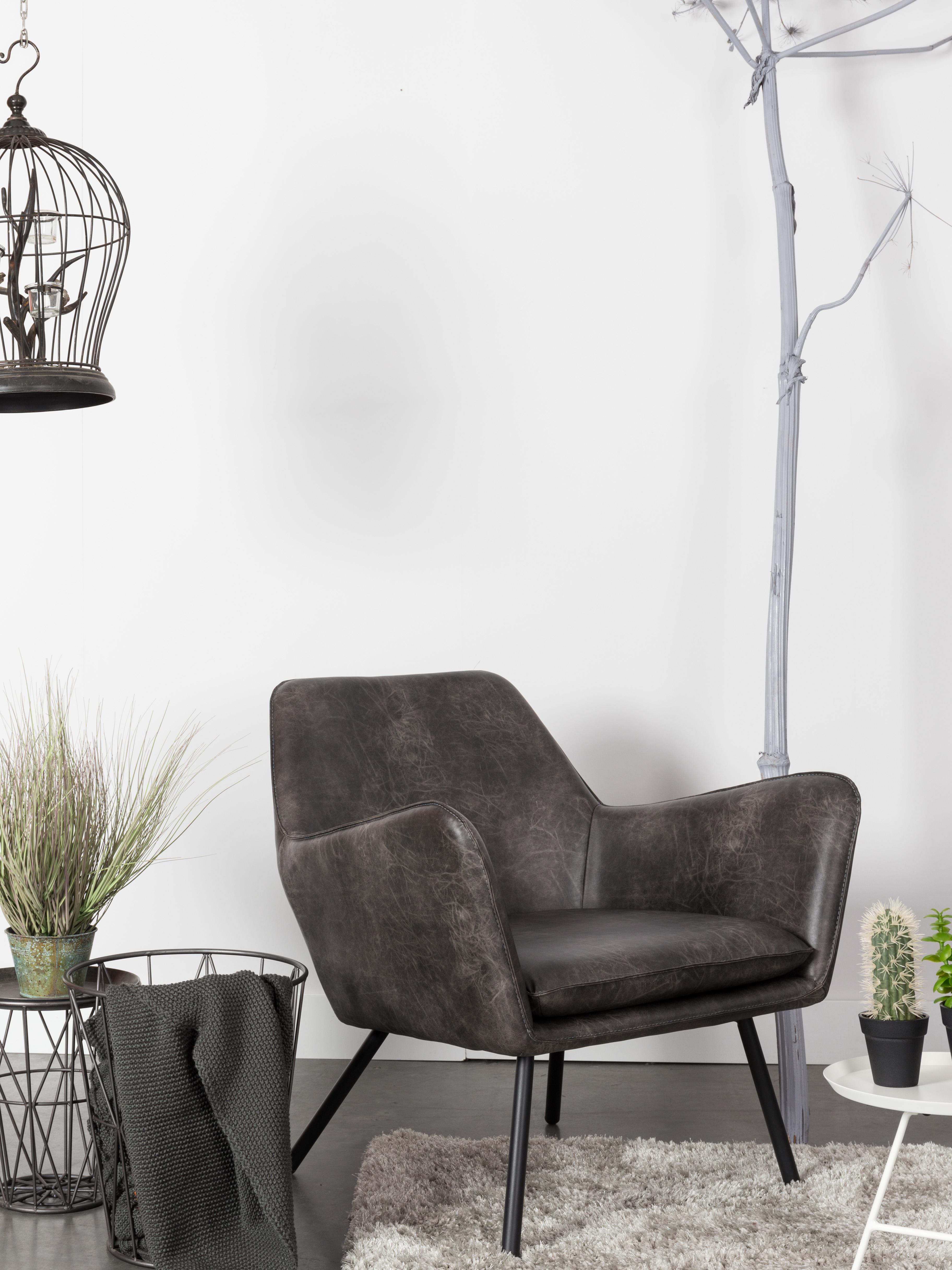 Kunstleder-Sessel Bon im Industrial Design, Bezug: Kunstleder (64% Polyureth, Füße: Metall, lackiert, Bezug: Schwarz, strukturiert<br>Füße: Schwarz, 80 x 78 cm