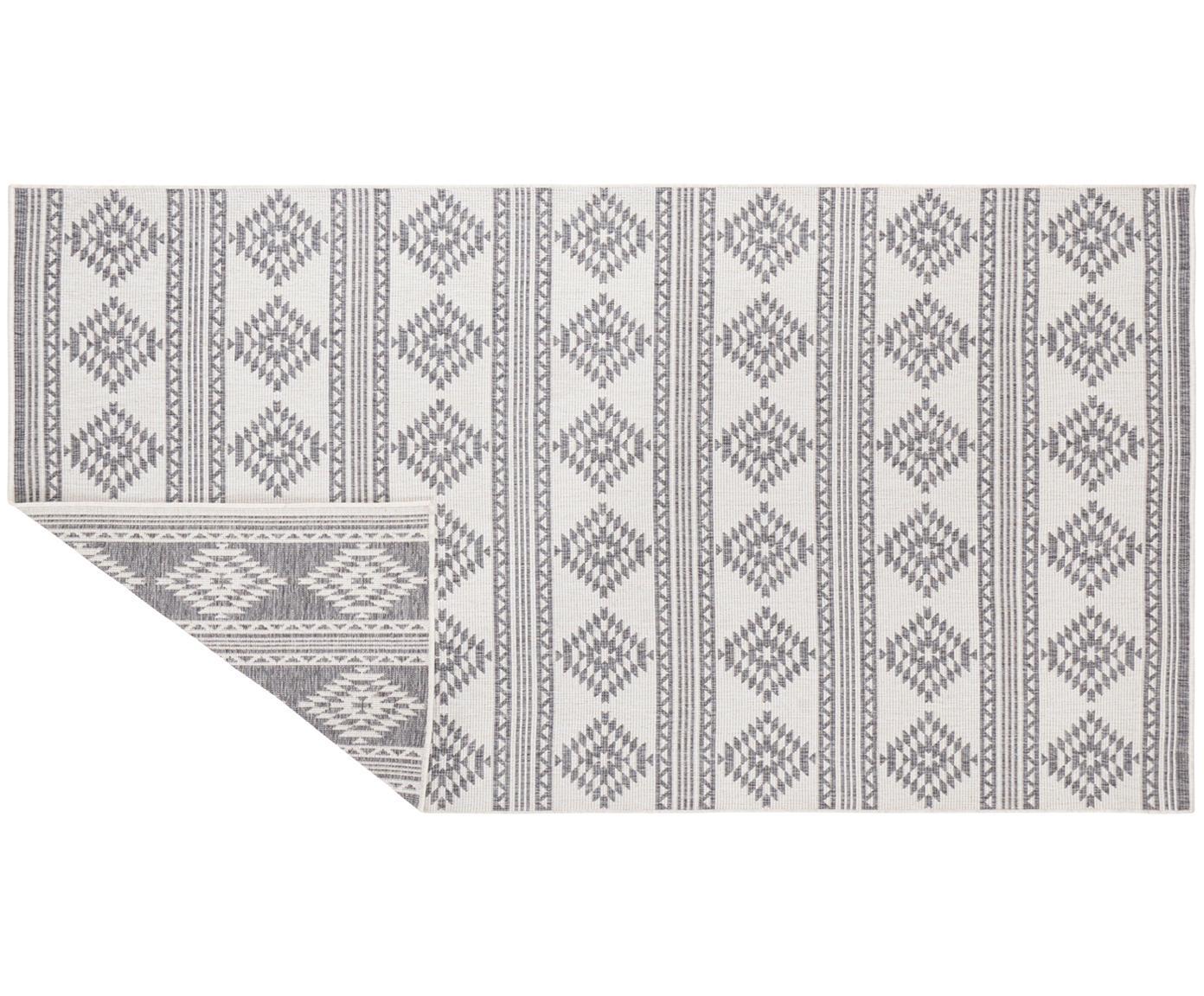 Dubbelzijdig ethno in- en outdoor vloerkleed Maple in grijs-wit, Polypropyleen, Grijs, crèmekleurig, B 80 x L 150 cm (maat XS)