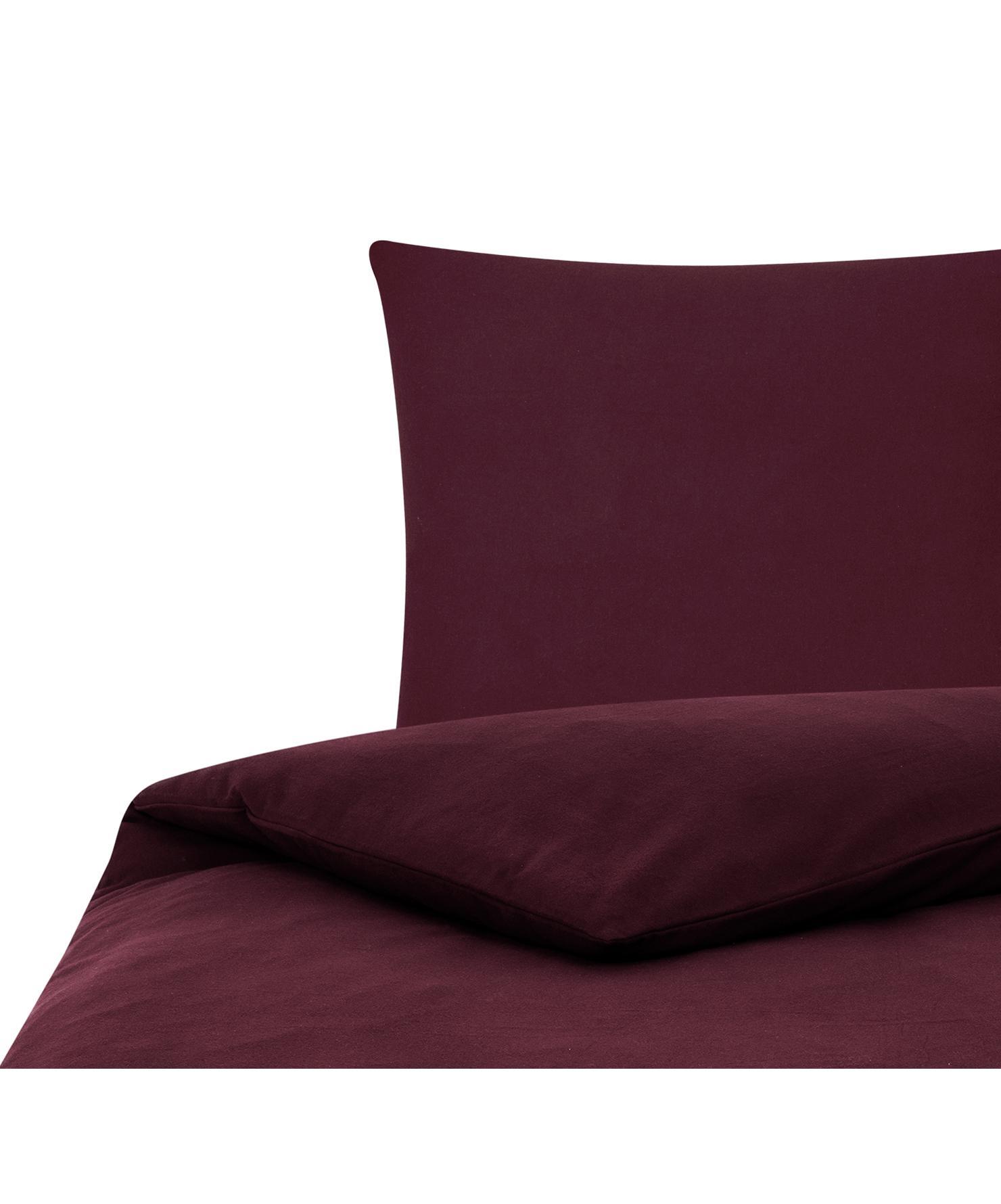 Flanell-Bettwäsche Biba in Dunkelrot, Webart: Flanell Flanell ist ein s, Dunkelrot, 135 x 200 cm + 1 Kissen 80 x 80 cm
