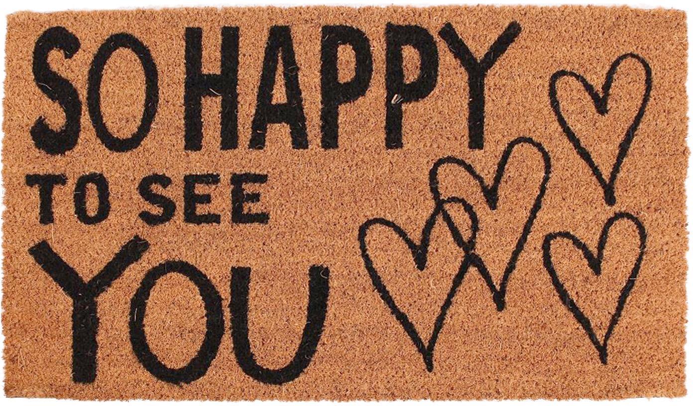 Fussmatte So Happy, Oberseite: Kokosfaser, Unterseite: PVC, Braun, Schwarz, 40 x 70 cm