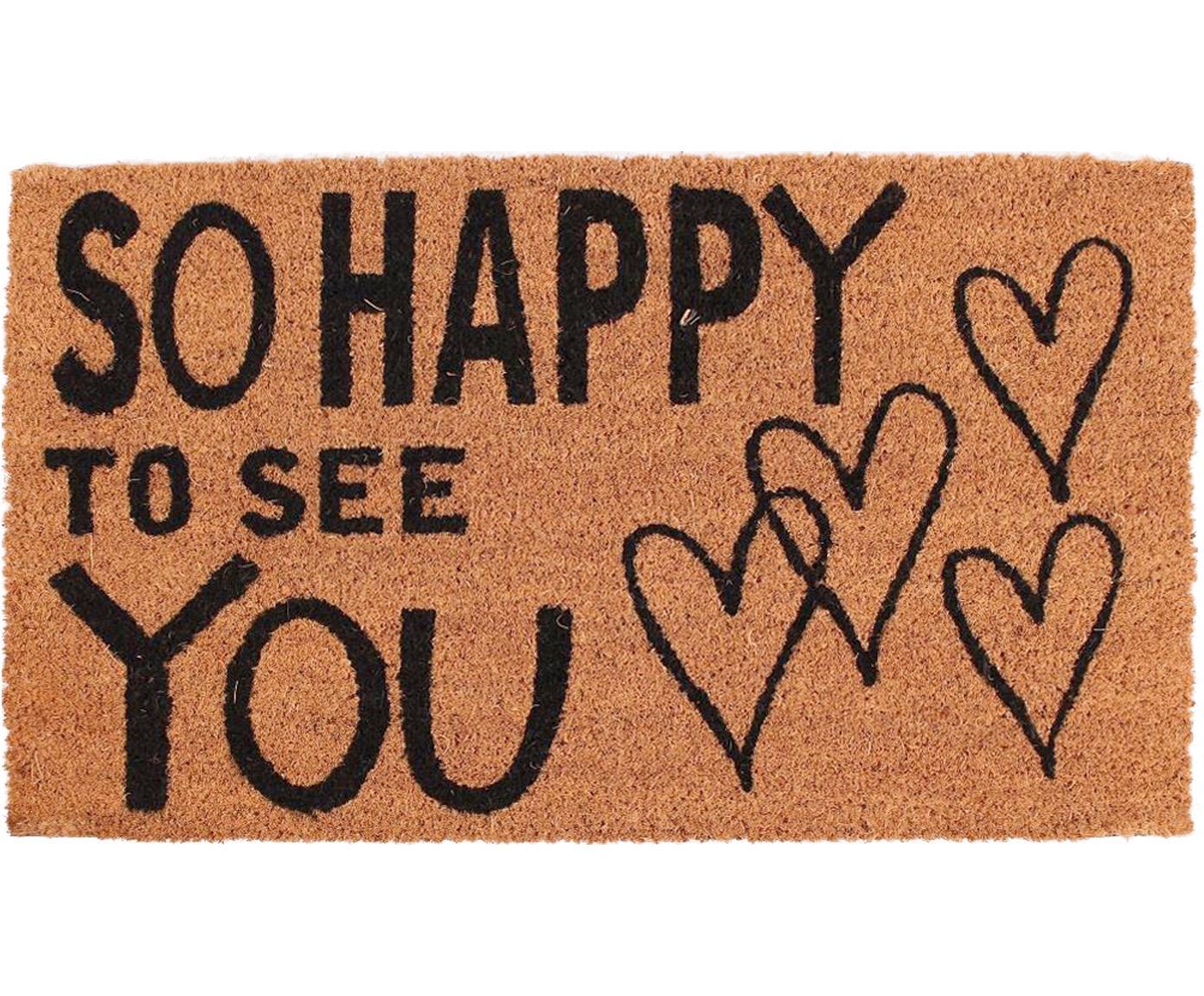 Deurmat So Happy, Bovenzijde: kokosvezels, Onderzijde: PVC, Bruin, zwart, 40 x 70 cm