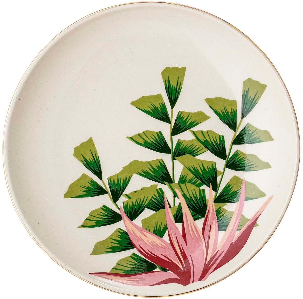 Piattino da dessert con bordo dorato Moana, Terracotta, Bianco, verde, rosa, Ø 16 cm