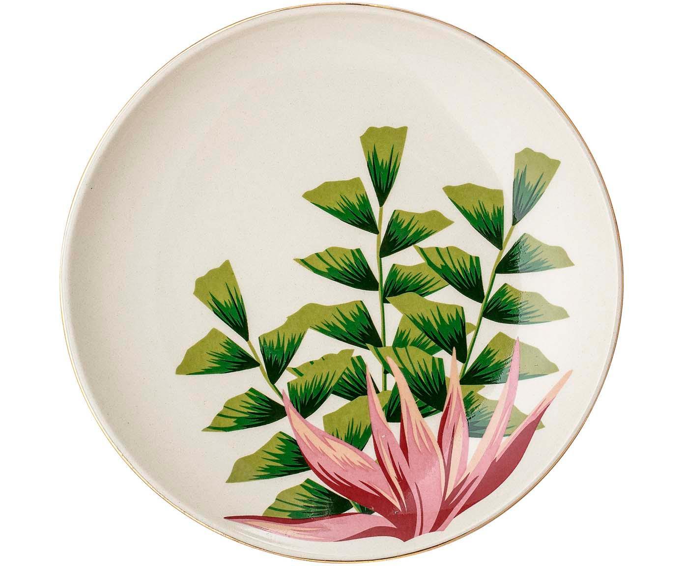 Frühstücksteller Moana mit Goldrand, Steingut, Weiß, Grün, Pink, Ø 16 cm