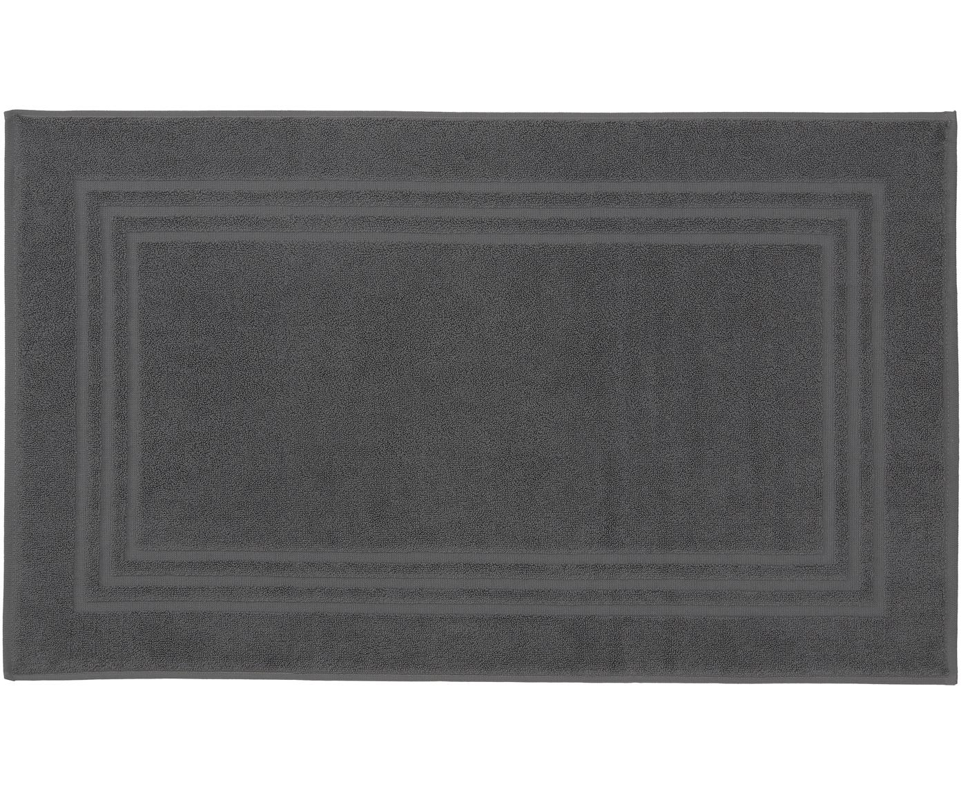 Tappeto bagno in tinta unita Gentle, Cotone, Grigio scuro, Larg. 50 x Lung. 80 cm