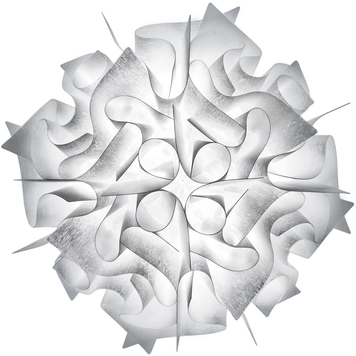 Handgefertigte Decken- und Wandleuchte Veli Mini, Technopolymer Opalflex®, recycelbar, bruchfest, flexibel, antistatisch beschichtet, UV- und hitzebeständig, Weiß, Ø 32 x T 15 cm