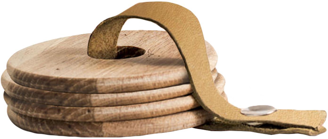 Eikenhouten onderzettersset Strap, 5-delig, Eikenhout, leer, Eikenhoutkleurig, bruin, Ø 9 x H 1 cm