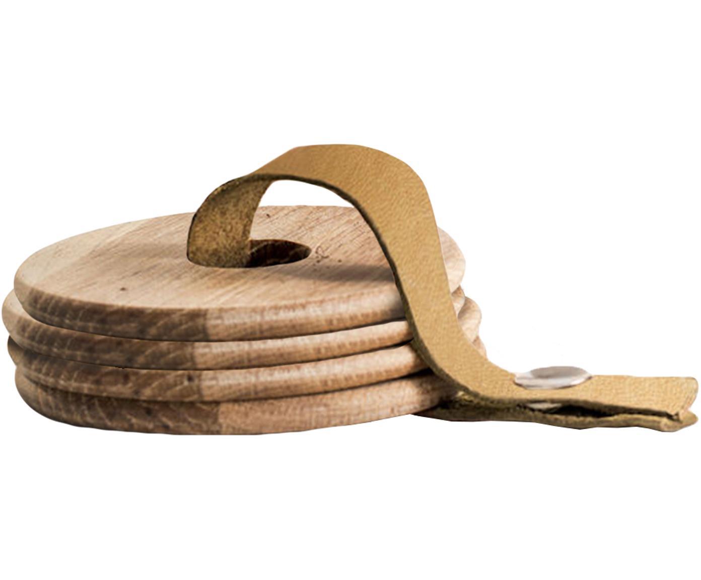 Set sottobicchieri in rovere Strap  5 pz, Legno di quercia, pelle, Legno di quercia, marrone, Ø 9 x Alt. 1 cm