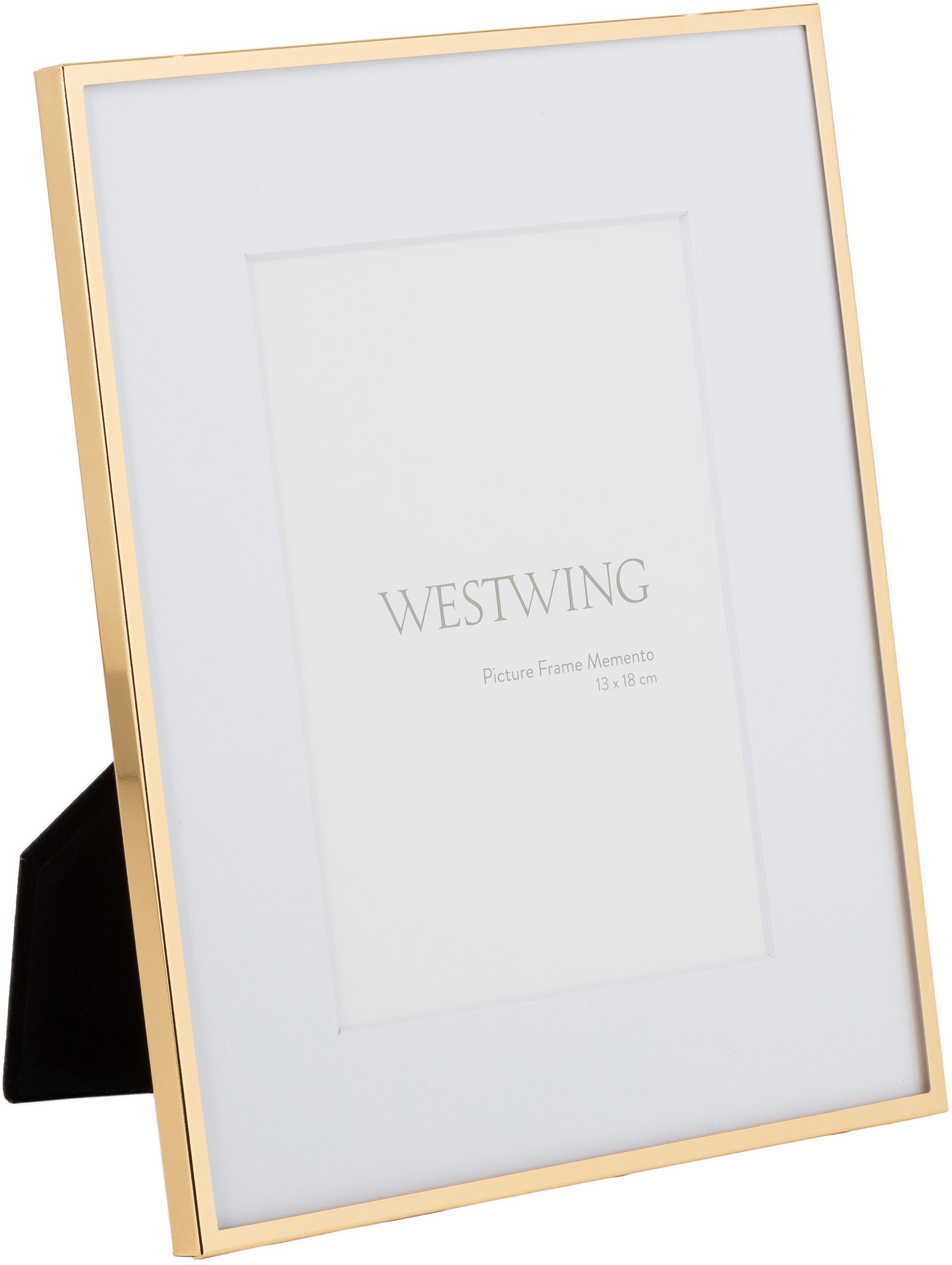 Bilderrahmen Memento, Rahmen: Eisen, hochglanz lackiert, Front: Glas, spiegelnd, Goldfarben, 13 x 18 cm