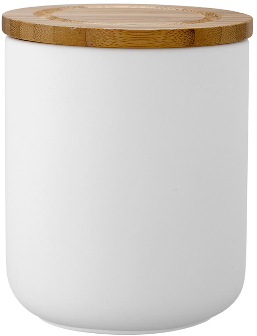 Contenitore Stak, Contenitore: ceramica, Coperchio: legno di bambù, Bianco, bambù, Ø 10 x Alt. 13 cm