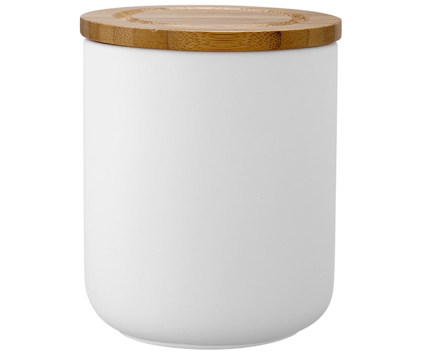Opbergpot Stak, Pot: keramiek, Deksel: bamboehout, Wit, bamboehoutkleurig, Ø 10 x H 13 cm